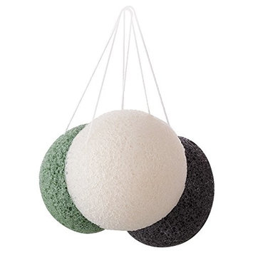 Konjac Facial Puff Sponge-Natural Original Pure Cleansing Sponge Bath Body Soft Puff Face Washing for All Skin Type (Green-2 Pack)