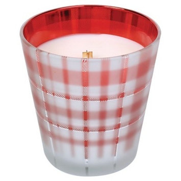 Glass Candle Red Plaid - Nature's Wick®