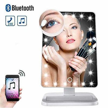 LED Light-Up Makeup Mirror Vanity w/Wireless Bluetooth Speaker, Magnifying Cosmetic Beauty Supplies Handsfree Calling 180° Rotation, Removable 10x Magnifier, 20 LED Lights (Hers)
