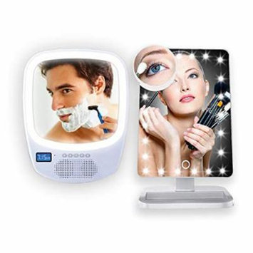 LED Light-Up Makeup Mirror Vanity w/Wireless Bluetooth Speaker, Magnifying Cosmetic Beauty Supplies Handsfree Calling (His & Hers Combo Deal)