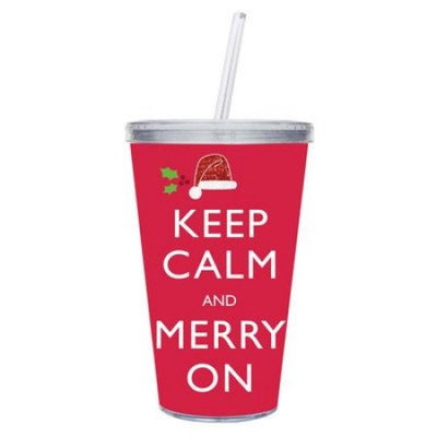 Evergreen Enterprises 2AC4175 17oz Insulated Cup with Glitter and Straw Keep Calm and Merry On