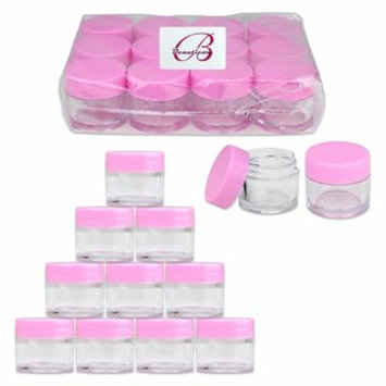Beauticom 24 Pieces Thick High Quality 7 Gram 7 ml Round Acrylic Leak Proof Cosmetic Sample Travel Jars (Pink Lid)