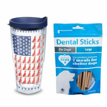 Tervis Project Paws Dog Flag 24 oz Tumbler with navy lid with Dental Sticks Large