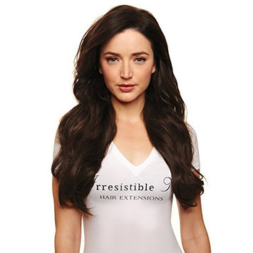 IRRESISTIBLE ME 1 piece Clip in Hair Extensions Medium Brown (Color #4) - 100% Human Remy (Remi) Hair clip ins – Straight 1 Weft Set Clips - Signature Quad Weft - 14 Inches 60 grams (quad-4-14-60)