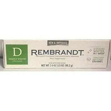 Rembrandt AntiCavity Fluoride Toothpaste with Peroxide Peppermint Flavored 3.5oz Pack of 6