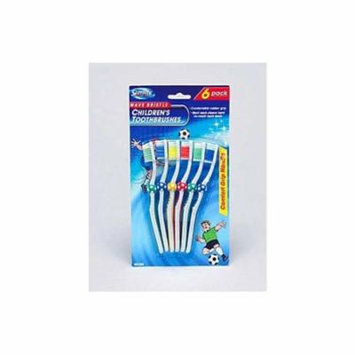 6 Pack children&-039;s wave bristle toothbrushes - Pack of 96