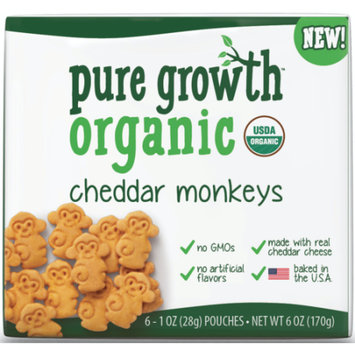 Pure Growth Organic Cheddar Monkey Snack Crackers - 6 CT