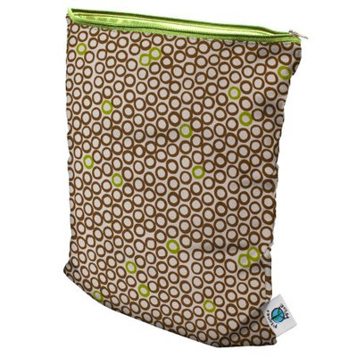 Planet Wise Medium Wet Bag Lime Cocoa Bean - Planet Wise Diaper and Baby Accessories