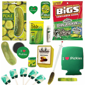 Big Dill Pickle Lovers Gift Pack (14pc Set) - Bandages, Mints, Lip Balm, Stress Toy, Can Cooler, Lollipops, Salt, Sunflower Seeds, Air Freshener, Soap, Pincher, Wristband, Sticker & Magnet
