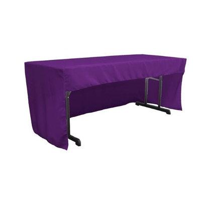 LA Linen TCpop-OB-fit-96x30x30-PurpleP23 2.26 lbs Open Back Polyester Poplin Fitted Tablecloth Purple