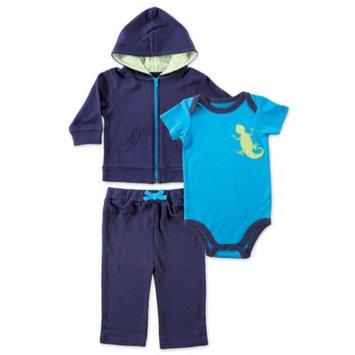 Yoga Sprout Turquoise & Navy Gecko Bodysuit Set