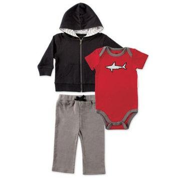 Yoga Sprout Black & Red Shark Bodysuit Set