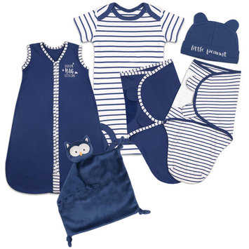 Baby Boy Baby Shower Layette Gift Set, 6pc - Navy Blue Sleep Bag, Swaddles, Bodysuit, Hat, Blanket