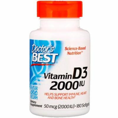 Doctor's Best, Vitamin D3, 2,000 IU, 180 Softgels(Pack of 2)