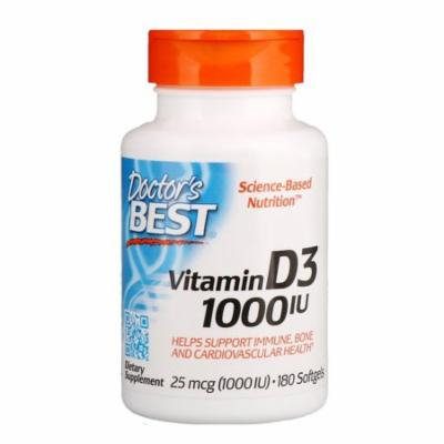 Doctor's Best, Vitamin D3, 25 mcg (1,000 IU), 180 Softgels(Pack of 12)