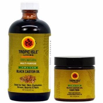 Tropic Isle Living Jamaican Black Castor Oil 8 oz & Black Castor Oil Hair Food 4 oz Set