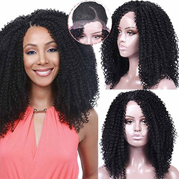 Armmu Lace Front Afro Kinky Curly Wigs for Women Synthetic Hair 1B Full Black Wigs Shoulder Length Deep Right L Part 20 inches