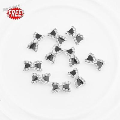 Oie Loves 2PCS 10Pcs 3D Metal Rhinestone Bowknot Women For Nail Art Supplies Gel Nail Charms