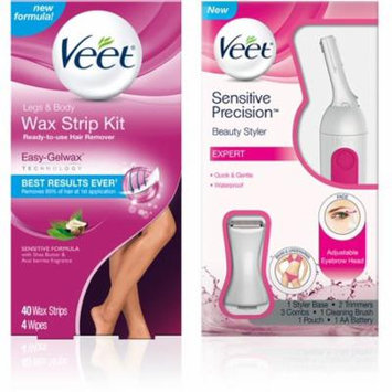 4 Pack - VEET Hair Remover Kit With Leg & Body Cold Wax Strips (40cnt) And Sensitive Precision Trimmer for Eyebrows, Fac