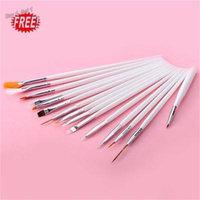 Oie Loves 2PCS 15Pcs Nail Art Gel Drawing Painting Dotting Pen ,Pink&White