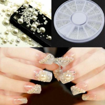 Oie Loves 3D Fashion Nail Art Tips Pearl Acrylic Gem Glitter Manicure Diy Decoration
