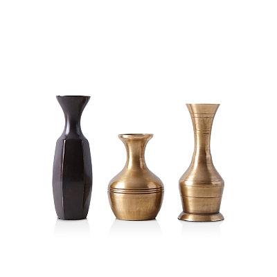 Food52 Vintage-Inspired Brass Bud Vases, Set of3