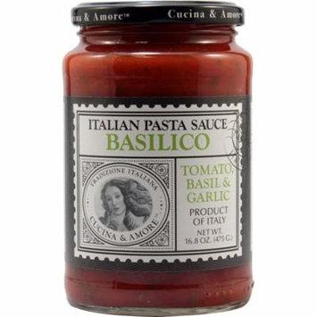 Cucina and Amore Basilico Italian Pasta Sauce - Tomato, Basil and Garlic - Case of 6 - 16.8 oz.