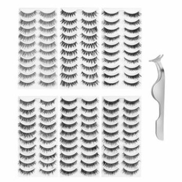 Lurrose 60 Pairs False Eyelashes Natural Fake Eyelashes Handmade Reusable Pack with Tweezer