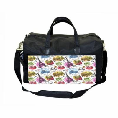 Paris Design Large Black Duffel Style Diaper Baby Bag