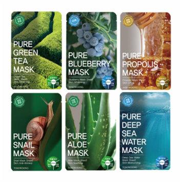 Tosowoong Pure mask sheet 12PCS /Mask pack/Essence Facial Mask Sheet - Aloe/Blueberry/Green tea/Snail/Deep sea water/Propolis (6 Types X 2)