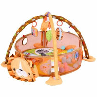 GHP Mesh & Polyester Fabric Cartoon Infant Activity Play Mat w Hanging Toys & Balls