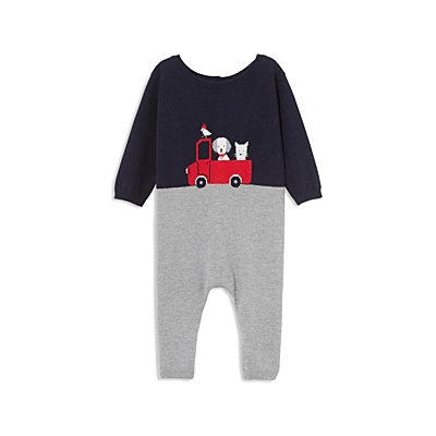 Jacadi Boys' Color-Blocked Red Car Coverall - Baby