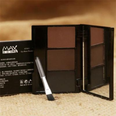 Holiday Gift Ideas 3 Colors Mineral Eyebrow Cake Powder Makeup Palette Waterproof Long Lasting Cosmetics Set With Brush