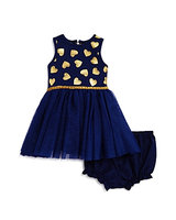 Pippa & Julie Girls' Gold-Heart-Print Tulle Dress & Bloomers Set - Baby