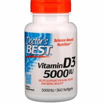 Doctor's Best, Vitamin D3, 5,000 IU, 360 Softgels(Pack of 12)