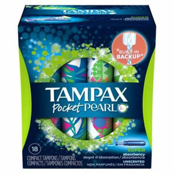 Tampax Pocket Pearl Unscented Super Absorbency Compact Plastic Tampons (Pack of 8)