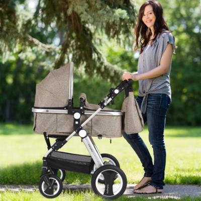 Folding Aluminum Baby Stroller Baby Jogger with Diaper Bag-Beige
