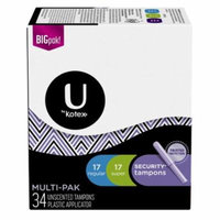 U by Kotex Security Tampons Multi-Pack, Regular and Super, 34 Ct (Pack of 2)