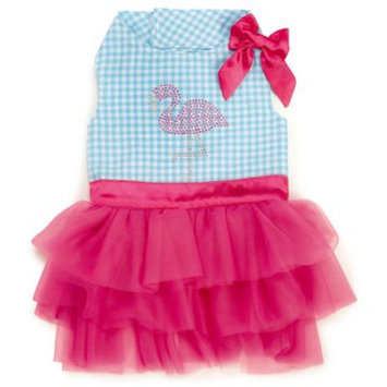 Zack & Zoey Watches Pink & Blue Sequin Flamingo Dress for Dogs