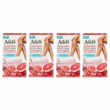 Nad's Exfoliating Body Wax Strips, 20 Count + 4 Post Wax Calming Oil Wipes (Pack of 4) + Makeup Blender Stick, 12 Pcs