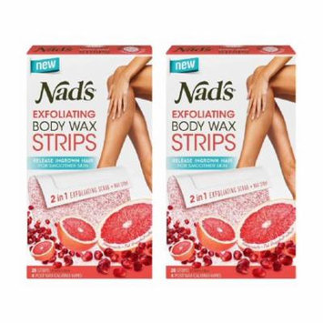 Nad's Exfoliating Body Wax Strips, 20 Count + 4 Post Wax Calming Oil Wipes (Pack of 2) + Makeup Blender Stick, 12 Pcs
