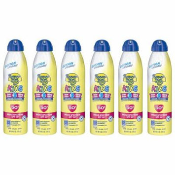Banana Boat Kids Continuous Spray Sunscreen, SPF 50+, Fragrance Free, Water Resistant, 6 Oz (Pack of 6) + Makeup Blender Stick, 12 Pcs