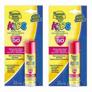 Banana Boat Kids UVA/UVB Protection Sunscreen Stick for Faces, Broad Spectrum SPF 50, 0.55 Oz (Pack of 2) + Makeup Blender Stick, 12 Pcs