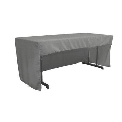 LA Linen TCpop-OB-fit-72x30x30-GrayDrkP12 1.95 lbs Open Back Polyester Poplin Fitted Tablecloth Dark Gray