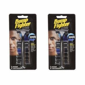 Bump Fighter Shaving Kit: 1 Razor with 2 Refill Blades, (Pack of 2) + Makeup Blender Stick, 12 Pcs