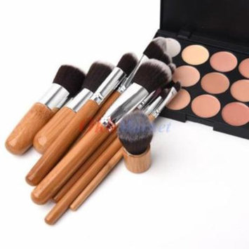 15Color Face Concealer Camouflage Cream Contour Palette 11PC Bamboo Brush Set US