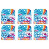 Gillette Venus Vibrance Refill Blade Cartridges, 4 Count (Pack of 6) + Makeup Blender Stick, 12 Pcs