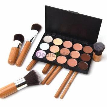 15 Colors Concealer Contour Palette Kit w 10PCS Bamboo Brush Face Makeup Cream