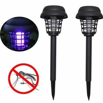 Outtop 2PC Solar Powered LED Light Mosquito Pest Bug Zapper Insect Killer Lamp Garden