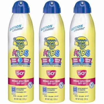Banana Boat Kids Continuous Spray Sunscreen, SPF 50+, Fragrance Free, Water Resistant, 6 Oz (Pack of 3) + Makeup Blender Stick, 12 Pcs